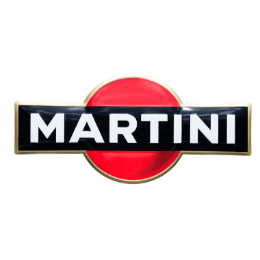 Embossed Martini tin metal sign, contour cut with hidden hangers