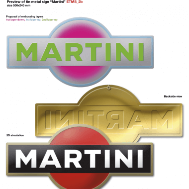 Martini tin metal sign, simulation