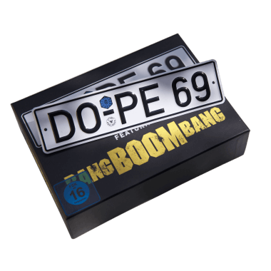 Embossed mini license plate 190 mm x 45 mm to go with the Bang Boom Bang Deluxe Edition DVD Box