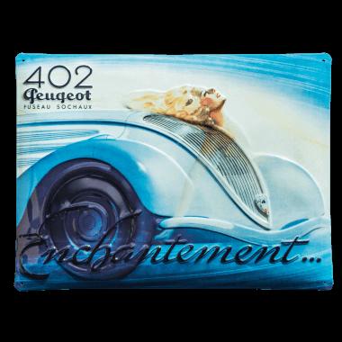 Embossed Peugeot tin metal sign, 40 cm x 30 cm
