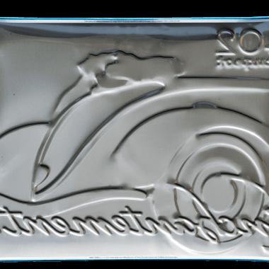 Peugeot tin metal sign, back