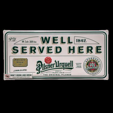 Pilsner Urquell tin metal sign, 60 cm x 30 cm