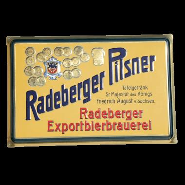 Radeberger tin metal sign,with metallic effect, 60 cm x 40 cm