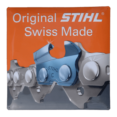 Embossed tin metal sign Stihl chain, 40 cm x 40 cm
