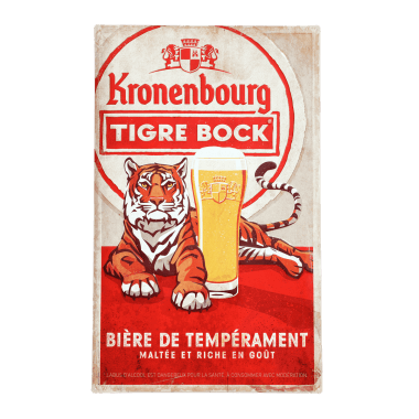Big, intricately embossed tin metal sign for Tigre Bock, 50 cm x 80 cm