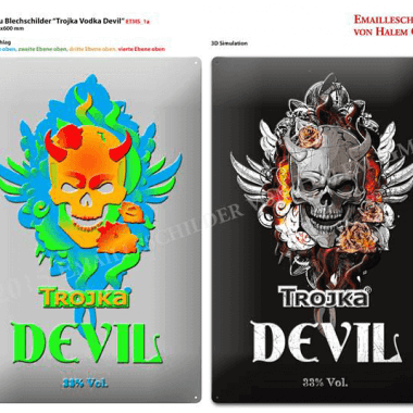 Trojka Devil tin metal sign, embossing preview