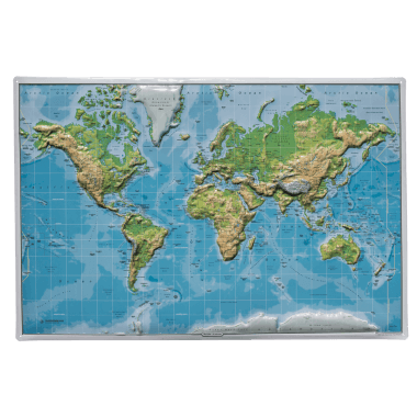 Six-level embossed tin metal map of the world