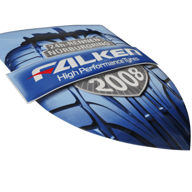 Falken Tyres porcelain enamel sign, 310 mm x 400 mm, contour cut and embossed, hidden hangers