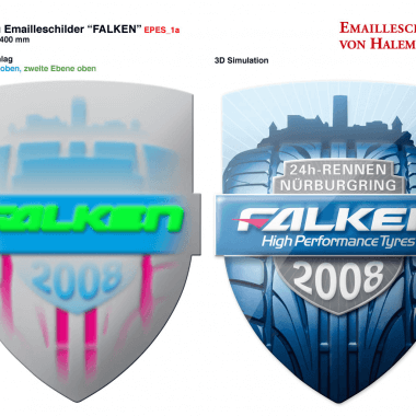 Falken Tyres porcelain enamel sign, preview of the embossing