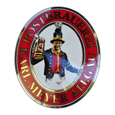 Postbrauerei porcelain enamel sign, 340 mm x 400 mm, eight ceramic colour plus real gold