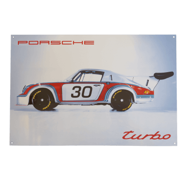 Porcelain enamel sign Porsche Turbo, 40 x 60 cm , ten ceramic colours, limited and numbered