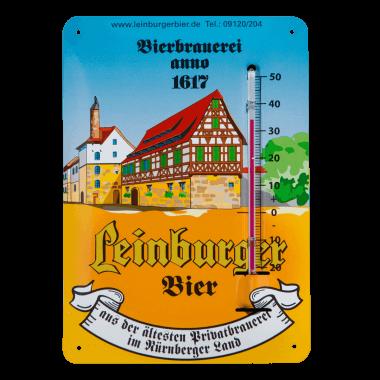 Leinburger thermometer made of tin metal, format A6 (same as a postcard)