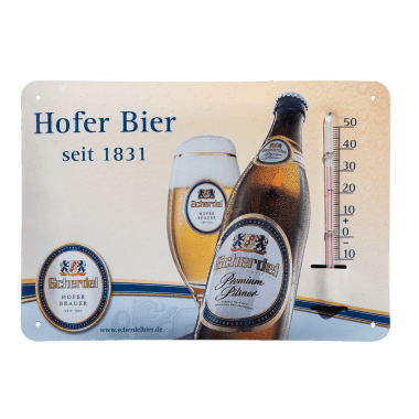 Give away thermometer Hofer Bier made of tin metal, format A6 (same as a postcard) Thermometer in A6 format (same as a postcard)