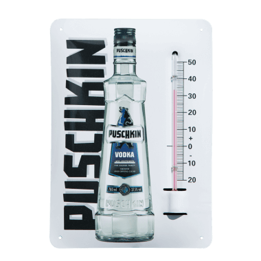Give away thermometer Puschkin made of tin metal, format A6 (same as a postcard)