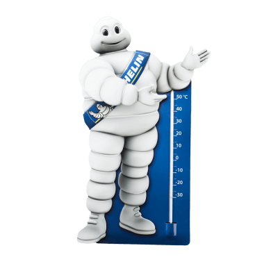 Michelin thermometer Bibendum, embossed and contour cut; height approx. 70 cm